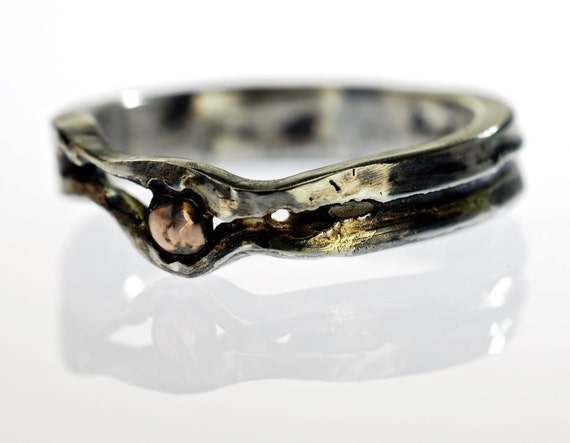 mens fault line engagement ring with oxidized by