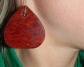 Bubinga Heart Earring
