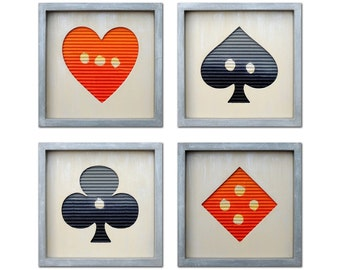 Playing Cards - Modern Wall Art - Home Decor - Contemporary Framed Wall Art - Wall Accent - Ready to Hang