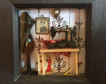Miniture sewing room 3D deep box frame shadow box
