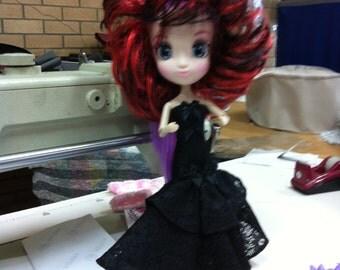 Long Black Dress & Hair piece for Shibajuku doll