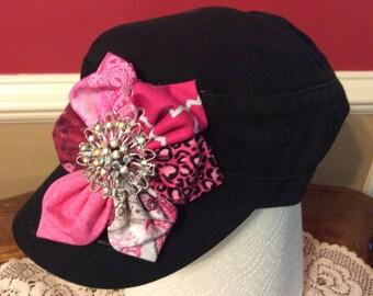 Cadet cap pink flower