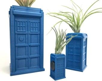 Tardis Planter - Whovian - 3D Printed Planter - Doctor Who - Fan Art Planter