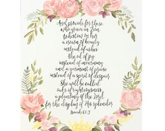 Isaiah 61:3 Handlettered