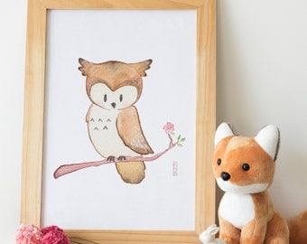 Owl - Woodland Animal Nursery Print