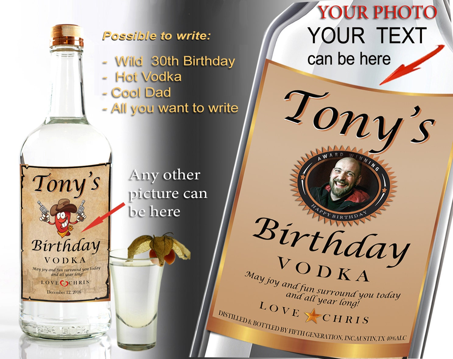 This is a picture of Accomplished Personalised Vodka Bottle Labels
