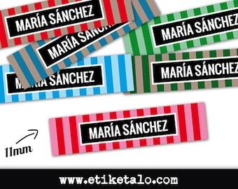 25 custom labels sewing | Satin | 11mm | Cut | Ref: YB06