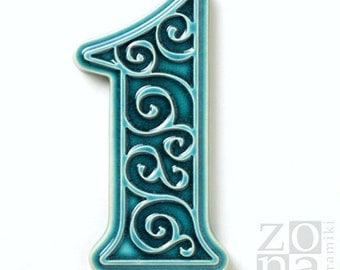 ceramic house number 1 , turquoise