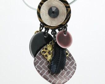 Boucles d'oreilles Clairébelle clips pendants marron et dorée