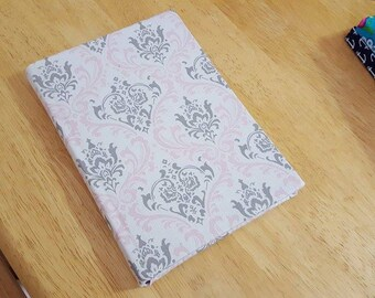 """Pink and Grey Damask Fabric Covered Journal 5.75"""" x 8.25"""""""