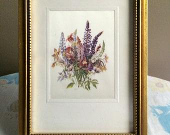 Vintage floral bouquet framed art - printed on silky fabric - golden wood frame