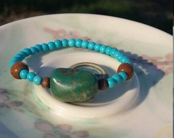 Turquoise Bracelet/Turquoise Jewelry/Bohemian Bracelet/Wood Bracelet/Bohemian Jewelry/Turquoise Gifts/Bohemian Gifts/Nature Gifts/Earth Mama