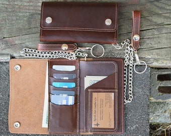 Horween Leather Creditcard Trucker Wallet, Chain Wallet, Biker Wallet
