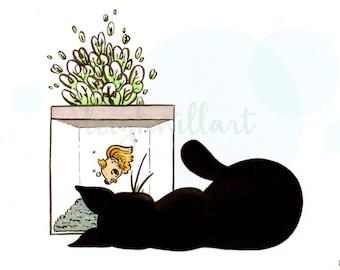 Cat at Fish Tank Print (4x6)