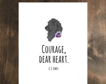 Courage Floral- Quotes Narnia, Digital Print Art