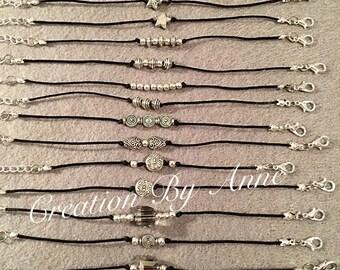 Bracelets beads metallic/silver elastic.