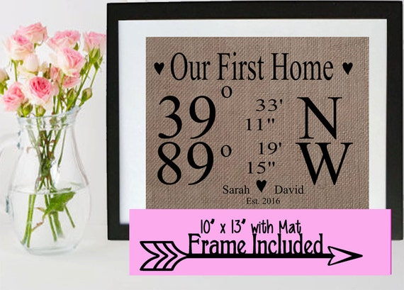 Items similar to first home sign new home frame burlap for New home sign