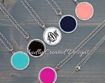 Rhinestone Enamel Disc Necklace | Personalized | Monogram | Jewelry