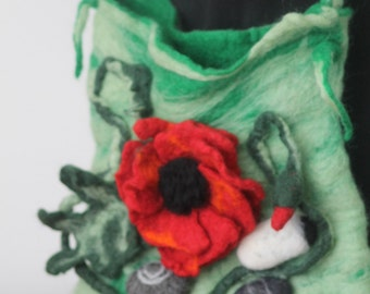 felted handbag /poppy  and stones / flower handbag / Felted handbag /felted poppy /