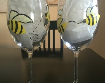 Hand Painted Bumble Bee Wine Glasses