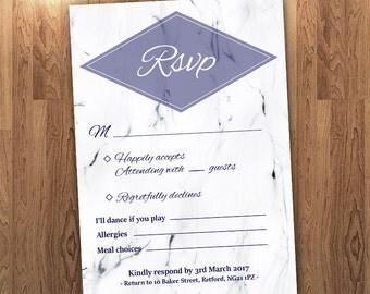 RSVP, Marble with Diamond Wedding Invitation, DIY Printable, Invitation Set