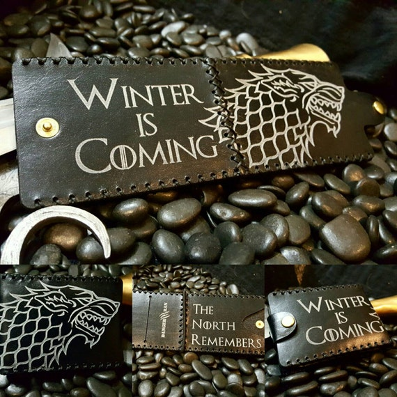 "Premium Black and White Stark Wallet ""Winter is Coming"" ""The North Remembers"""