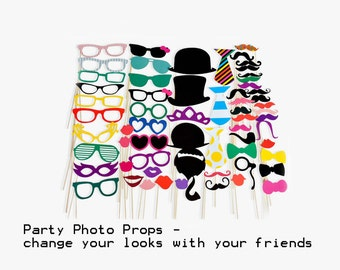 Best Birthday Photo Booth Prop - 58 Pieces Set - Mustache Glasses Photo booth Party Props Colorful glasses Photo Booth Prop for Birthday