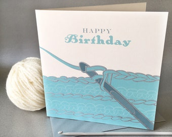 Hand engraved vintage crochet greetings card - happy birthday. Blank card. 150mm x 150mm