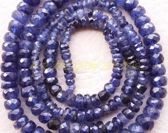 "Natural Blue Sapphire Rondelle, Glass Filling Faceted Rondelle Beads, 2.50-5 MM Size, 16"" Strand, Loose Gemstone Roundel Beads, 661"