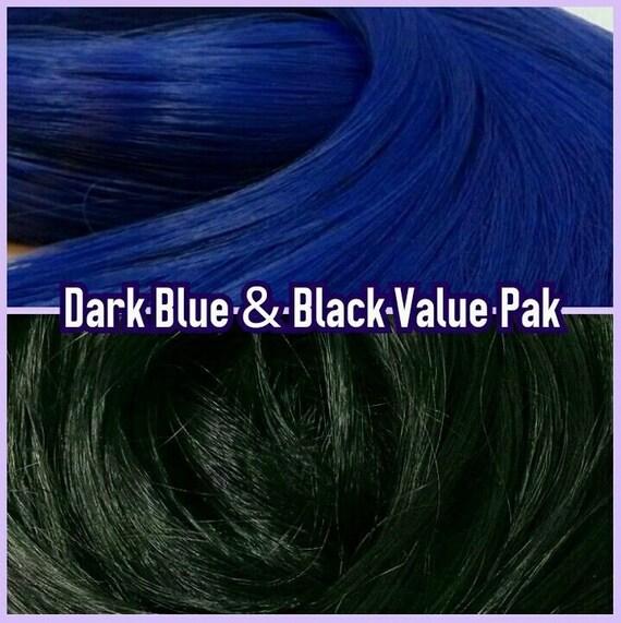 Black & Dark Blue XL 4oz 2 Color Value Pak Nylon Doll Hair Hanks Rerooting Monster High Ever After Barbie My Little Pony Crissy Sindy