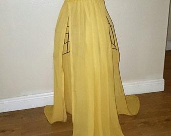 Plus Size  Mustard Yellow Chiffon Two-Slit Maxi Skirt