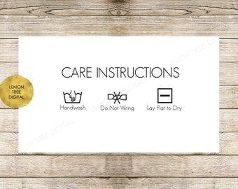Care Instructions card, laundry card, laundry tag, cleaning instructions, care instructions download, laundry instructions download