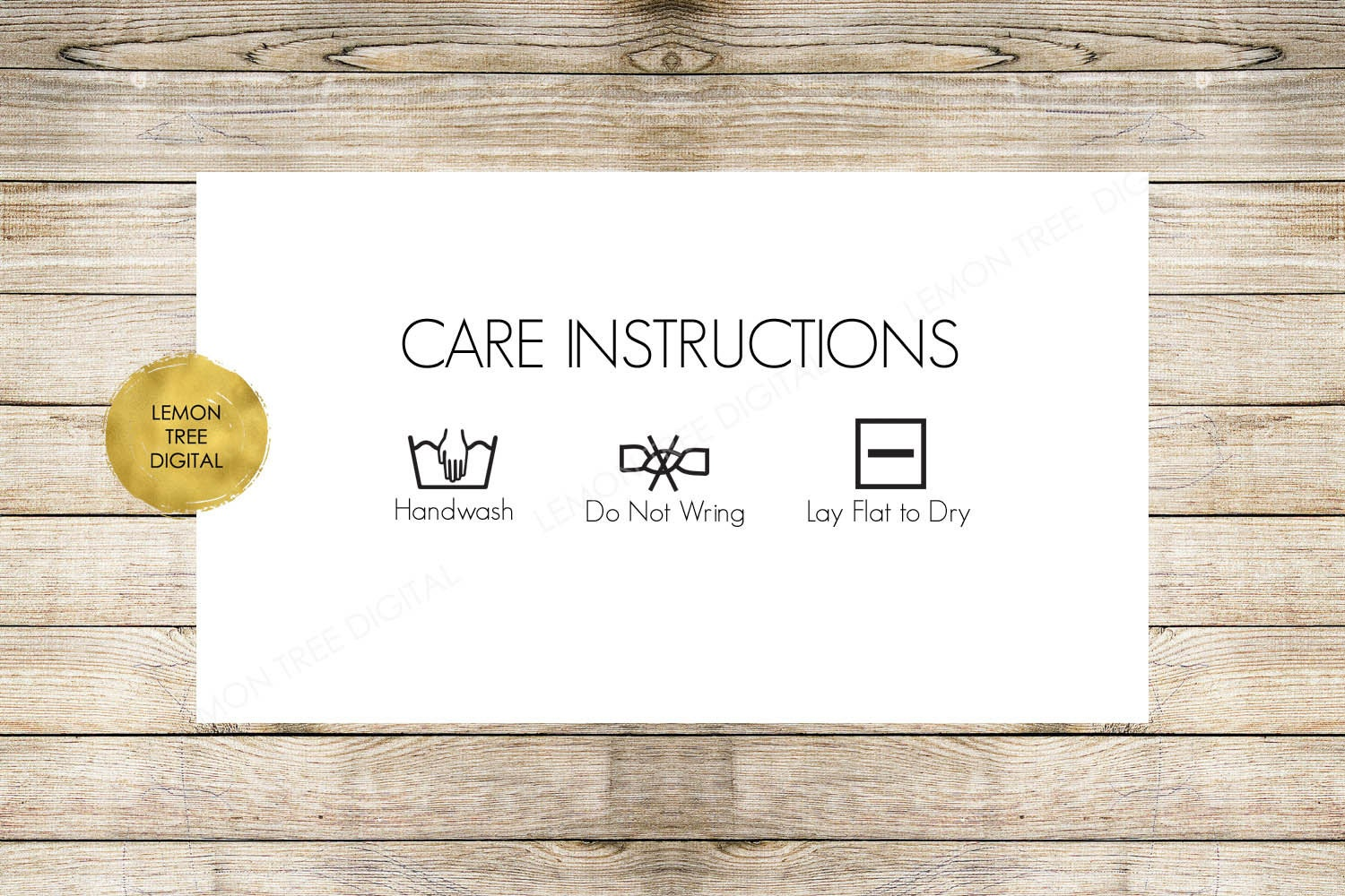 Care Instructions Card Laundry Card Laundry Tag