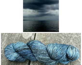Hand Dyed Single Ply 100% Merino Fingering Weight Yarn - Fundy Storm