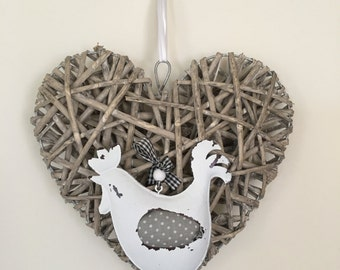 Rustic Vintage Style Heart with Hen