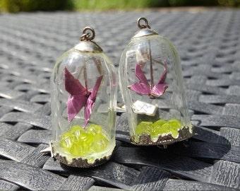 """Earrings """"butterfly under glass"""""""