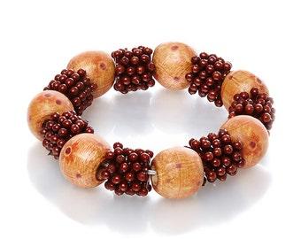 Crowned Elegance Mixed Wood/Beaded Bracelet