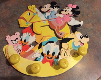 Vintage 1984 The Walt Disney Company Childs Wall Hanging Coat Rack