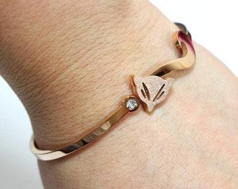 Cute Fox Cuff Bracelet Minimalist Jewelry - Rose Gold Simple and Elegant