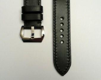 Leather watch strap shiny black