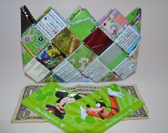Upcycled candy wrapper wallet Disney Park Maps Magic Kingdom, Epcot, Animal Kingdom, Hollywood Studios, Water parks and Disney Springs