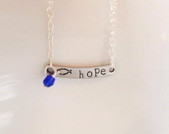Hand stamped metal Hope Jesus fish necklace with customizable color bead