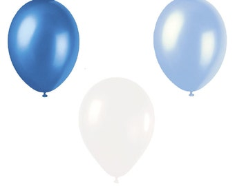 5 x Sets of Royal Blue, Blue and White Pearlised Latex Balloons ( 15 Balloons)