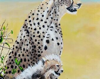 "cheetah and baby 30""x40"""