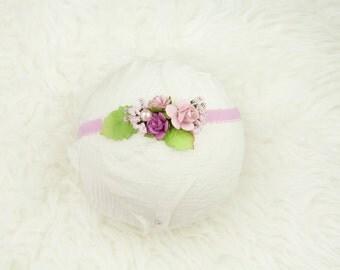 Newborn headband in shades of pink