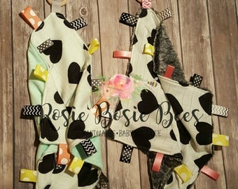 Love noir tag/lovey sensory blanket