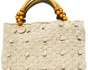 Isis Cream hand knitted tote bag