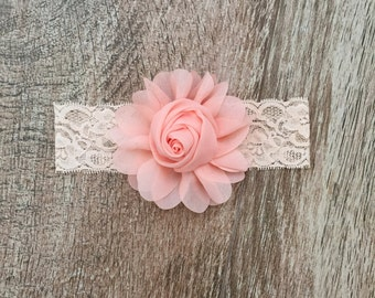 Pink flower | lace | headband