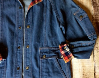 Retro Plaid Denim Coat