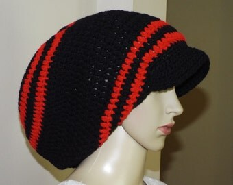 black and red mega tam, large rasta hat with visor